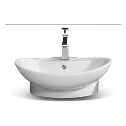 CeraStyle - Oval Wall Mounted or Vessel Bathroom Sink - Beautiful oval bathroom sink made out of high quality white ceramic. Sink is ADA Compliant and can be mounted as a wall mounted or vessel bathroom sink. Includes a single overflow and faucet hole. Made and manufactured by luxury Turkish brand CeraStyle.