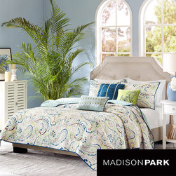 Madison Park - Madison Park Camilla 6-piece Coverlet Set - Add splashes of color to the bedroom with the Madison Park Camilla Six-piece Coverlet Set. The large scale paisley print has pops of blue, green and purple and reverses to a solid green that accents the green on the comforter's face.