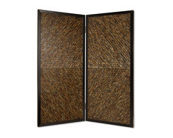 Screen Gems - Screen Gems Anacapa Screen - 84 Inch - High design and inlayed abalones. The shells are inlayed in an artistic arrow pattern. Reflected light at varying angles emits a varied color pattern. This handmade screen is finished on both sides. F116