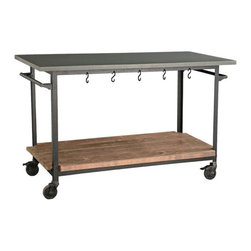 Rolling Console Cart - This terrific cart would add a little bit of industrial flair and function to any kitchen.