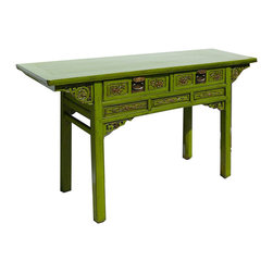 Golden Lotus - Green Chinese Antique Butterfly Style Desk Console Altar Table - This is a Chinese antique table which is made of solid elm wood.  It is also called Butterfly style table, because its shape looks butterfly.  It comes with detail carving around the table, so it can be used as console altar table or a writing desk.