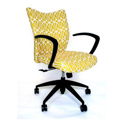 Bristol Chair With DwellStudio Gate Fabric - Cute (and comfortable) desk chairs are hard to come by. I like how a bright, modern fabric gives this standard office chair a fresh look.