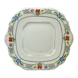 Made in England on base - Consigned Porcelain Serving Plate with Painted Flowers and Gilded - Square serving porcelain plate with moulded borders, printed and painted floral decoration and gilded trim, vintage English, 1930s.This is a vintage One of a Kind item. Some wear and imperfections are to be expected, as described.