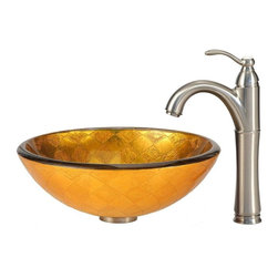 Kraus - Orion Glass Vessel Sink and Riviera Faucet in Satin Nickel - Includes mounting ring, umbrella pop-up drain, cover plate and mounting hardware.