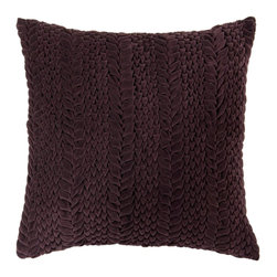"Surya P0277-1818P 100% Cotton 18"" x 18"" Decorative Pillow - This solid textural pillow gives your space a fun, new look. The color aubergine accents this decorative pillow. This pillow contains a poly fill and a zipper closure. Add this 18"" x 18"" pillow to your collection today. Filler: Poly Fiber. Shape: Square"
