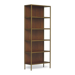 Mitchell Gold + Bob Williams - VanDyke Étagère - Complete your midcentury modern living room with this sleek bookcase. Clean brass edges bring retro style while the dark wood veneer adds warmth. Open sides mean your pristine book collection and treasured knickknacks get unobstructed display space.