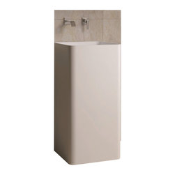 ADM - ADM White Solid Surface Stone Resin Pedestal Sink, Matte - DW-107