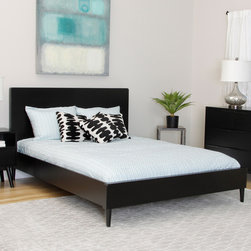 None - Sterling Soft Black Queen-size Bed - The Sterling queen-size bed makes a dramatic statement with its charming, low-profile design. This elegant piece highlights a soft black finish and mid-century styling, making it an ideal choice for any decor.