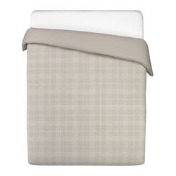 Quinn King Duvet Cover - A classic windowpane design in subtle natural and white is woven of 100% linen for a simply sophisticated bedding statement. Duvet cover with hidden button closure and interior ties reverses to solid cotton percale. Flanged shams have overlapping back closures. Duvet inserts and bed pillows also available.