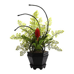 """Nearly Natural - Bromeliad and Maidenhair Fern Arrangement - Includes planter. Amazing combination of colors and textures. Ideal for both home and office decor. Stay looking beautiful for years without water or sun. Makes a thoughtful gift. Made from silk. Green color. Planter: 5.75 in. L x 5.75 in. W x 5.25 in. H. Overall: 17 in. L x 12 in. W x 19 in. HSome combinations of plants simply work perfectly together. That's definitely the case with this """"unusual yet stunning"""" Bromeliad & Maidenhair Fern Arrangement. With the fern providing a soft, almost star-like backdrop, the lush Bromeliad stands regal within the included decorative planter."""
