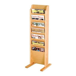 Wooden Mallet - Freestanding Oak Magazine Rack w Seven Pocket - Finish: Dark Red MahoganyYou'll wonder how you ever got by without this smartly appointed, highly functional magazine rack. It'll keep your busy office or waiting area organized with an added dose of style. Wood rack comes in your choice of popular finishes. Sturdy, lightweight design also features budget-friendly price. Floor stand units are easy to move when re-arranging furniture. Base has stable 12 in. oak feet. All Wooden Mallet products are warranted for 1 year against defects in materials and workmanship. Furniture quality construction with solid oak sides sealed in a durable state-of-the-art finish. Pictured in Light Oak. No assembly required. 12 in. D x 10.5 in. W x 37 in. H (12 lbs.). 1-Year warrantyWooden Mallet's free-standing magazine racks offer versatility and style when displaying magazines in your lobby. Our unique overlapping design neatly displays and organizes magazines and literature, keeping them tidy and visible in the least amount of space.