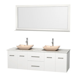 """Wyndham Collection - Centra 72"""" White Double Vanity, White Carrera Marble Top, Ivory Marble Sinks - Simplicity and elegance combine in the perfect lines of the Centra vanity by the Wyndham Collection. If cutting-edge contemporary design is your style then the Centra vanity is for you - modern, chic and built to last a lifetime. Available with green glass, pure white man-made stone, ivory marble or white carrera marble counters, with stunning vessel or undermount sink(s) and matching mirror(s). Featuring soft close door hinges, drawer glides, and meticulously finished with brushed chrome hardware. The attention to detail on this beautiful vanity is second to none."""