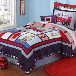 None - 'Fireman' 3-piece Quilt Set - Create a fantasy bedroom with this bold quilt bedding set featuring firehouse-themed images. The set includes a quilt and two pillow shams decorated with bright pictures of fire trucks,ladders,and hydrants. Spark hours of imagination with this set.