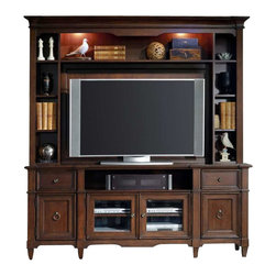 Hooker Furniture - Hooker Furniture Riley Entertainment Console with Hutch in Medium Brown - Hooker Furniture - TV Stands - 50685548655586KIT - Relax and reconnect as you come to the favorite part of your day. It's that time when you put your feet up sit back and enjoy your favorite TV show movie or sports event. Or maybe your time is more lively as you jump and move to a game of electronic tennis or join a virtual rock band. At Hooker Furniture we want to help make your downtime enjoying movies electronic games or music even better.