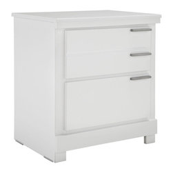 Standard Furniture - Standard Furniture Metropolitan 2-Drawer Nightstand in Glossy White - Metropolitan Bedroom has a fresh modern vibe with its edgy asymmetrical details and eye-catching metallic accents.
