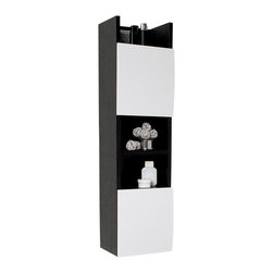 Fresca - Fresca Bathroom Linen Cabinet w/3 Open Shelves - This unique bathroom linen storage cabinet comes with three open shelves and two cabinet doors. Works well with our black and white colored vanities.