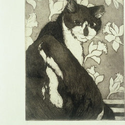 """""""Untitled (Kilieko)"""" Artwork - This is an original etching, in a very limited edition. Only ten prints were hand pulled (by me) The image, of one of my beloved cats, measures 10 x 8 inches. It's printed on my own handmade mitsumata paper.   An etching is a print made from a metal plate, either zinc or copper. In an etching, the incisions in the plate are produced by drawing on an acid-resistant wax ground with a sharp tool and immersing the plate in an acid bath. Darker lines are produced by longer immersion.  To create an aquatint, (gray area) the plate is covered with a fine dust of rosin particles and heated so that the rosin dust adheres to it. The plate is then submersed into the acid. The acid bites around the particles, producing a tonal effect.  The plate is then inked and wiped and run through a press. it's a long time honored process producing beautiful results."""