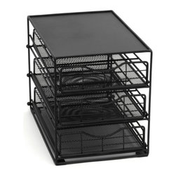 Lipper International - Lipper International 8670 3 Tier Black Mesh Cabinet Coffee Drawer - 8670 - Shop for Plates and Dishes from Hayneedle.com! A great way to start each day the Lipper International 8670 3 Tier Black Mesh Cabinet Coffee Drawer keeps your coffee station neat and organized. This handy three-tier organizer is made of sturdy metal with a black finish. Smart drawers extend out and tilt down so you're sure to get exactly the coffee pod you want. It holds up to 45 individual coffee pods and still has room on top for your coffee cups. Sweet!About Lipper InternationalLipper International provides exceptionally valued kitchen home & office organizers including the Soho Spice Collection; single serve coffee pod organizers; kitchen pantryware cutting boards and tools; serving & entertaining accessories; and children's furniture and toy chests. Lipper uses the finest quality materials including stainless steel bamboo acacia wood chrome- and powder-coated metals and other fine quality hard woods. Known for product functionality as well as beauty and quality craftsmanship Lipper International combines quality style service and price into every product and collection it offers.