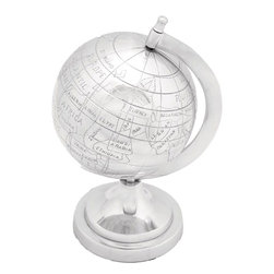 "Benzara - Aluminum Decor Globe in Silver Finish - Looking for a perfect gift for your child that adds to his knowledge and enhances the decor of his room? This aluminum decor globe is just the right pick for your growing child. With its sturdy aluminum construction you do not have to worry about breaking due to accidental falls. Its unmatched quality and dazzling appearance are enough to attract admiring glances from the visitors. Carefully crafted by taking care of minute details, this attractive aluminum globe acts as a perfect decorative showpiece and a knowledge centre. Gift of wisdom is the best gift you can give to your child and this decorative aluminum globe fits the requirement perfectly.; Robust construction with artistic design; Made of sturdy aluminum; Shiny and durable; Weight: 2.21 lbs; Dimensions:7""W x 6""D x 10""H"