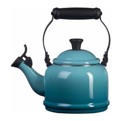 Le Creuset - Le Creuset Enamel on Steel 1.25-Quart Demi Tea Kettle - Diminutive yet durable, this is the only kettle a singleton or couple will ever need.  Crafted of sturdy carbon steel with a vibrant porcelain enamel finish, it's cute as can be and built to last.