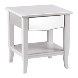 Upton Home - Upton Home Montmarth White Mirrored End Table - Add an air of freshness to any room in your home with this crisp,white Upton Home end table. Accentuated with glamorous mirror panels,this end table offers both storage and display space.