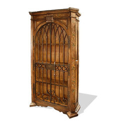 Koenig Collection - Old World Traditional Armoire Antiqued Raquel, Torched Fresco Brown - Antiqued Raquel Armoire, Torched Fresco Brown with Scrolls
