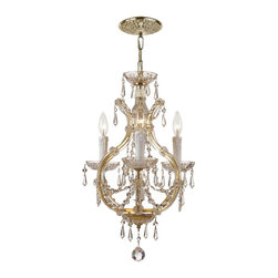 Crystorama - Crystorama Maria Theresa 1 Tier Chandelier in Polished Gold - Shown in picture: Maria Theresa Mini Chandelier Draped in Hand Cut Crystal; For centuries - Maria Theresa style of crystal chandeliers has been a sign of wealth - style - and class. In keeping with the time honored traditions of our European artisans - Crystorama's Maria Theresa collection offers a variety of finishes and crystal comb