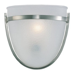Sea Gull Lighting - Sea Gull Lighting 41115-962 Single-Light Eternity Wall / Bath Fixture - ADA Compliant Wall sconce in Brushed Nickel Finish with Clear HIghlighted Satin Etched Glass Brushed nickel finish and clear highlighted satin etched chiseled hand-carved glass - redefining style.