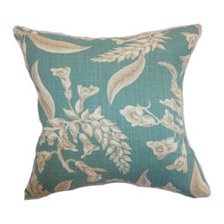 "The Pillow Collection - Kaitaia Floral Pillow Aqua 18"" x 18"" - Surround your bed or sofa with this plush throw pillow for a homey vibe. This floral accent pillow features a delicate and pretty print pattern in aqua blue and natural color palette. This square pillow is a gorgeous gift to share with your friends and loved ones. Add a touch of sophistication by pairing this 18"" pillow with solids and textured pillows. Made from a blend of 55% linen and 45% rayon fabric. Hidden zipper closure for easy cover removal.  Knife edge finish on all four sides.  Reversible pillow with the same fabric on the back side.  Spot cleaning suggested."