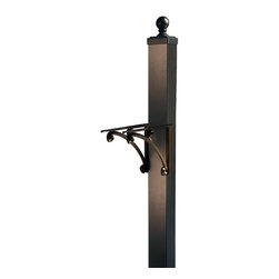 "Frontgate - Capitol Post & Bracket - Aluminum post conveniently slides over any wooden 4x4, not included.Mailbox offered separately.Post: 4""W x 4""D x 54""H.Brackets: 10""H x 16""W."