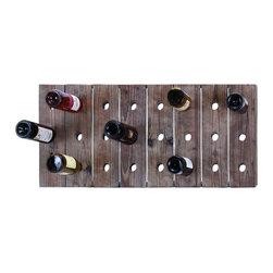 Woodland Imports - Space Efficient Wood Wine Rack 24 Bottle Capacity Simple Design Bar Decor - Space efficient wood wall panel wine rack with 24 bottle capacity in simple elegant design unique bar decor