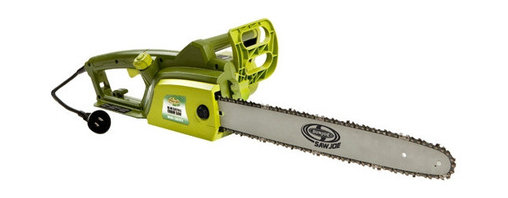 """Snow Joe - 18"""" Corded Chain Saw - The SWJ701E 18 """" electric chain saw is ready to go right out of the box. Powered by an efficient 14 AMP Motor, the Saw Joe SWJ701E can tackle the toughest jobs. It's precision cutting ability is ideal for cutting firewood, branches, bushes and fallen trees. Great for yard care and cleanup chores. Automatic bar and chain oiling mechanism and tool-less tension adjustment makes this chain saw so easy to operate and maintain."""