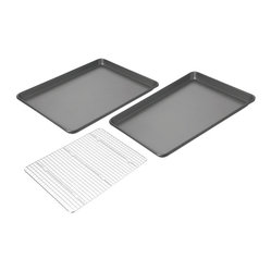 Chicago Metallic Nonstick Jelly Roll Pans (Set of 2) with Cooling Rack
