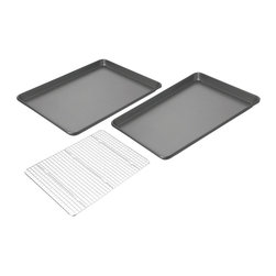 Chicago Metallic - Chicago Metallic Nonstick Jelly Roll Pans (Set of 2) with Cooling Rack - Cool your heels while these baking sheets do their job. Then flip out your cookies onto the special cooling rack and relax. No dreaded warping in the oven and cleanup is a snap with the easy release coating on the pans.