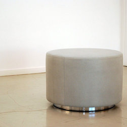 """Benches & Ottomans - This smaller ottoman is 24"""" in diameter and fabricated with Holly Hunt Stingray leather in Jellyfish (it's actually an embossed leather), and a polished chrome base."""