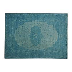 1800-Get-A-Rug - 100% Wool Sky Blue Overdyed Serapi Heriz Oriental Rug Hand Knotted Sh19365 - 100% Wool Sky Blue Overdyed Serapi Heriz Oriental Rug Hand Knotted Sh19365