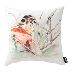 Bird Marsh 16X16 Pillow (Indoor/Outdoor) - 100% polyester cover and fill.  Suitable for use indoors or out.  Made in USA.  Spot Clean only
