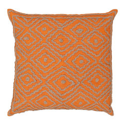 "Surya LD029-2020P 100% Linen w/ Cotton Detail 20"" x 20"" Decorative Pillow - Raised pattern makes this textured pillow stand out. This pillow has a polyester fill and a zipper closure. Made in India with one hundred percent Linen and cotton detail, this pillow is durable and priced right. Filler: Poly Fiber. Shape: Square"