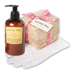 Gilden Tree - Intense Hand Care Set - She'll love this lovely kit with our Soothing Hand & Body Lotion and soft cotton gloves! Our lotion is made with Certified Organic Aloe Vera, Jojoba Oil and Shea Butter Balm, and scented with Kiran Forest, a fresh, green botanical scent that's simply irresistible. And she'll find a hundred uses for the pretty little pandan box and lid tied with a real ribbon.