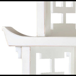 Bungalow 5 - Bungalow 5 Pagoda Shelf Pag-475, White - ANTIQUE LACQUER FINISH WITH GOLD ACCENTS