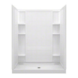 "STERLING PLUMBING - STERLING Ensemble(TM) 60, Series 7213, 60"" x 34"" x 75-3/4"" Tile Alcove Shower - 60"" shower, made of solid Vikrell(R) material, Modular four-piece design moves around corners and through doorways with ease, Tongue-and-groove interlocking joints form a seamless appearance and simplify installation, Realistic 6"" x 6"" tile wall surround, Durable high-gloss finish provides a smooth, shiny surface.  Convenient shelves provide generous storage, Shaving ledge/foot rest added for comfort, 10-year consumer/3-year commercial limited warranty"