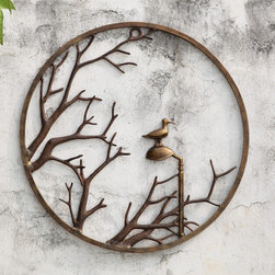 "Autumn Branch and Bird Wall Hanging - A singular circle of cast aluminum surrounds fall's leafless branches leaving a lone bird on a pod as the focus. This line of extraordinary treasures features distinctive decorative wares that are sure to find a perfect place in your heart and home. Dimensions: 25""w x 1""d x 25""h"