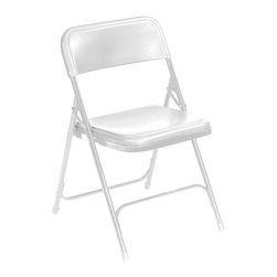 National Public Seating - Premium Lightweight Chair - Set of 4 - Set of 4. Double hinges. Powder coated 18-gauge steel frame. Color-impregnated plastic seat and back. 0.88 in. round tubing. Two U-shaped double riveted cross braces. V shaped stability plugs. Stacks up to 80 in. height (36 chairs) with specially designed stacking tabs. Steel contains 30-40% of post-consumer waste (recycled). Plastic contains up to 35% of pre-consumer waste. Meets ANSI and BIFMA standards. Warranty: Five years for material. Weight capacity: 480 lbs.. 18.75 in. W x 20.75 in. D x 29.75 in. H (8.5 lbs.)