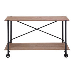 Benzara - Metal Wood Console Table 55in.W, 33in.H Accent Collection - Size: 55 Wide x 16 Depth x 33 High (Inches)