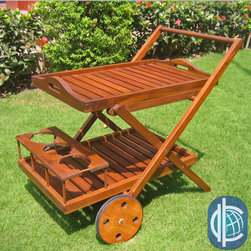 International Caravan - International Caravan Acacia Wood Bar Trolley - Trolley crafted of 100-percent acacia woodTrolley accentuated by a versatile brown finishRemovable top tray; fixed bottom tray
