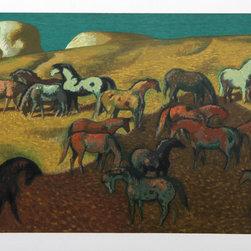 Millard Owen Sheets, Brood Mare Pasture, Lithograph - Artist:  Millard Owen Sheets, American (1907 - 1989)
