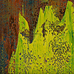 """modern abstraction #62-2062, 37x37 - """"Modern Abstractions"""", combines Spencer Rogers' photography and painting. They are macro photographs of small sections of his large paintings that are printed behind museum grade plexiglass acrylic, with polished edge, to create a stunning modern look. These have been a designer's dream as you can order them in multiple sizes. Only 25 of each image will be sold, which creates a lot of appeal to collectors and helps keep these works of art as unique as the original paintings. The finished piece in the sample photo is 48x64"""