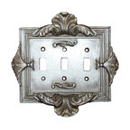 Hickory Manor House - Florentine Triple Switch Plate in Gilt Silver - Vintage original. Custom made by artisans unfortunately no returns allowed. Enhance your decor with this graceful switch plate. Made in the USA. Made of pecan shell resin. Weight: 1 lb.