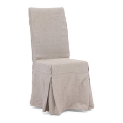 ZUO ERA - Dog Patch Chair Beige (set of 2) - Slip into this casual but stylish chair at your next dinner party. The pair of solid wood dining chairs comes draped in either a beige or charcoal linen slipcover and features four decorative ties in back. It's a great understated addition to your dining room.