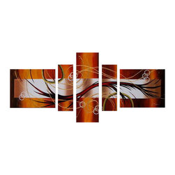 fabuart - Oil Painting Brown Abstract Art 5 Panel- 62 x 30in - This beautiful Art is 100% hand-painted on canvas by one of our professional artists. Our experienced artists start with a blank canvas and paint each and every brushstroke by hand.